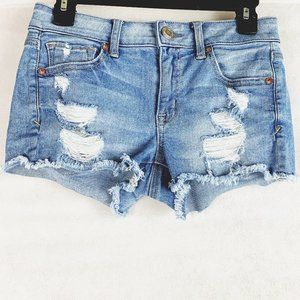 American Eagle Distressed Shortie Stretch Shorts